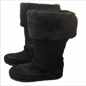 🆕 ESCAPES Black Suede Boots with Fur Lining and Laces Size 7.5